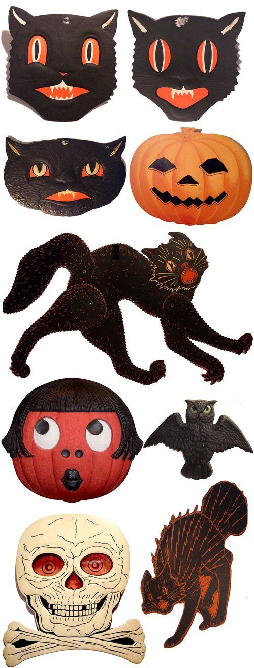 Vintage halloween black cats old fashioned way for Antique halloween decoration